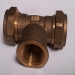 22mm Copper Compression Tee x 0.75 inch FBSP Branch